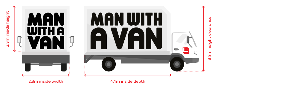Large trucks have the dimensions: 2.3m inside height, 2.3m inside width. 4.2m inside depth, 3.3m height clearance.
