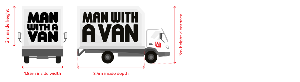 Medium trucks have the dimensions: 2m inside height, 1.85m inside width. 3.4m inside depth, 3m height clearance.